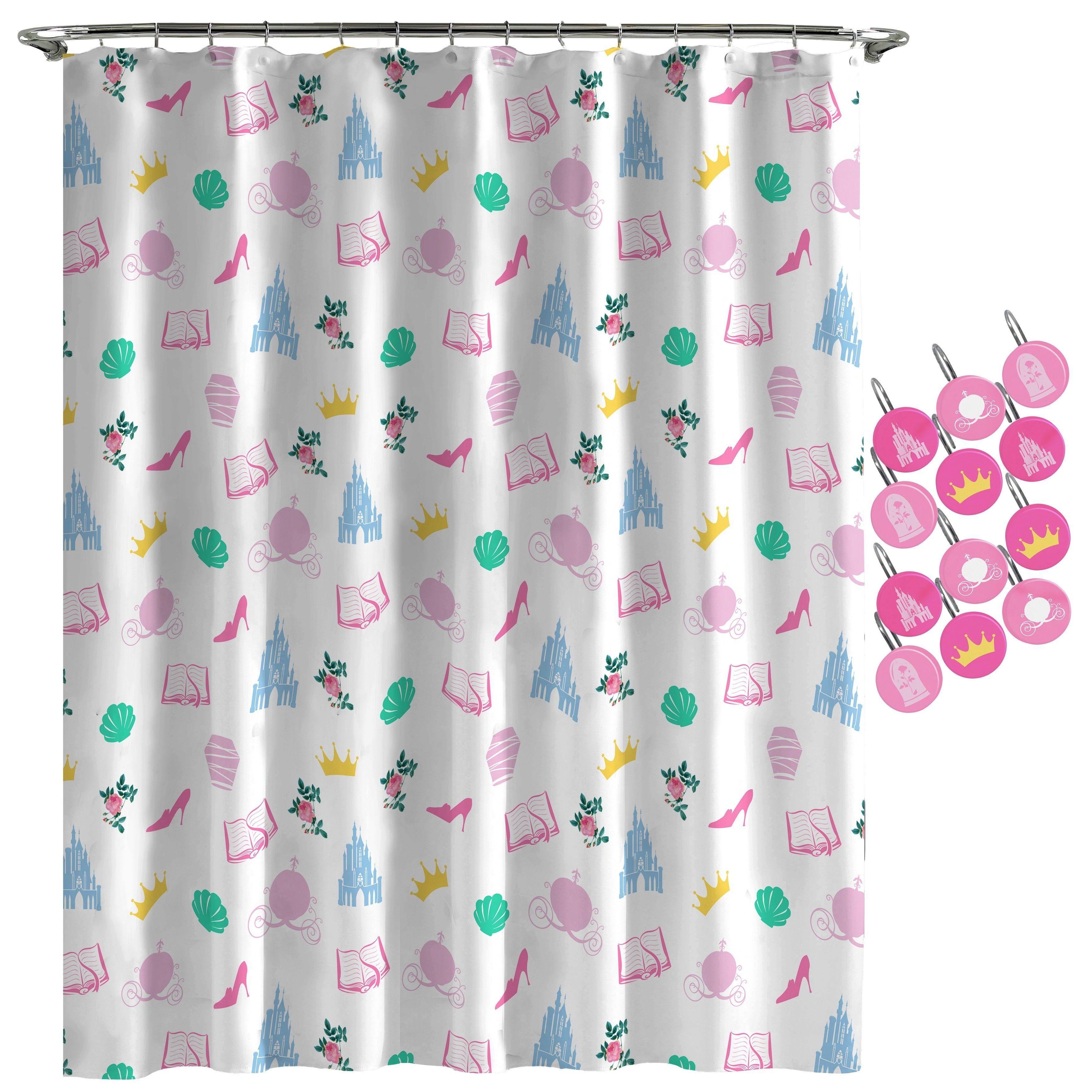 Disney Princess Sassy White Shower Curtain And Hooks Disney