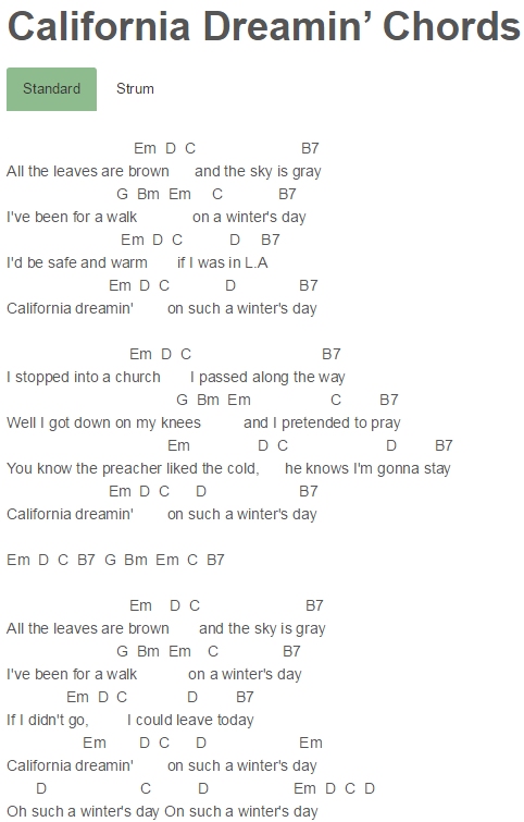 California Dreamin\' Chords San Andreas, Sia | Guitar | Pinterest ...