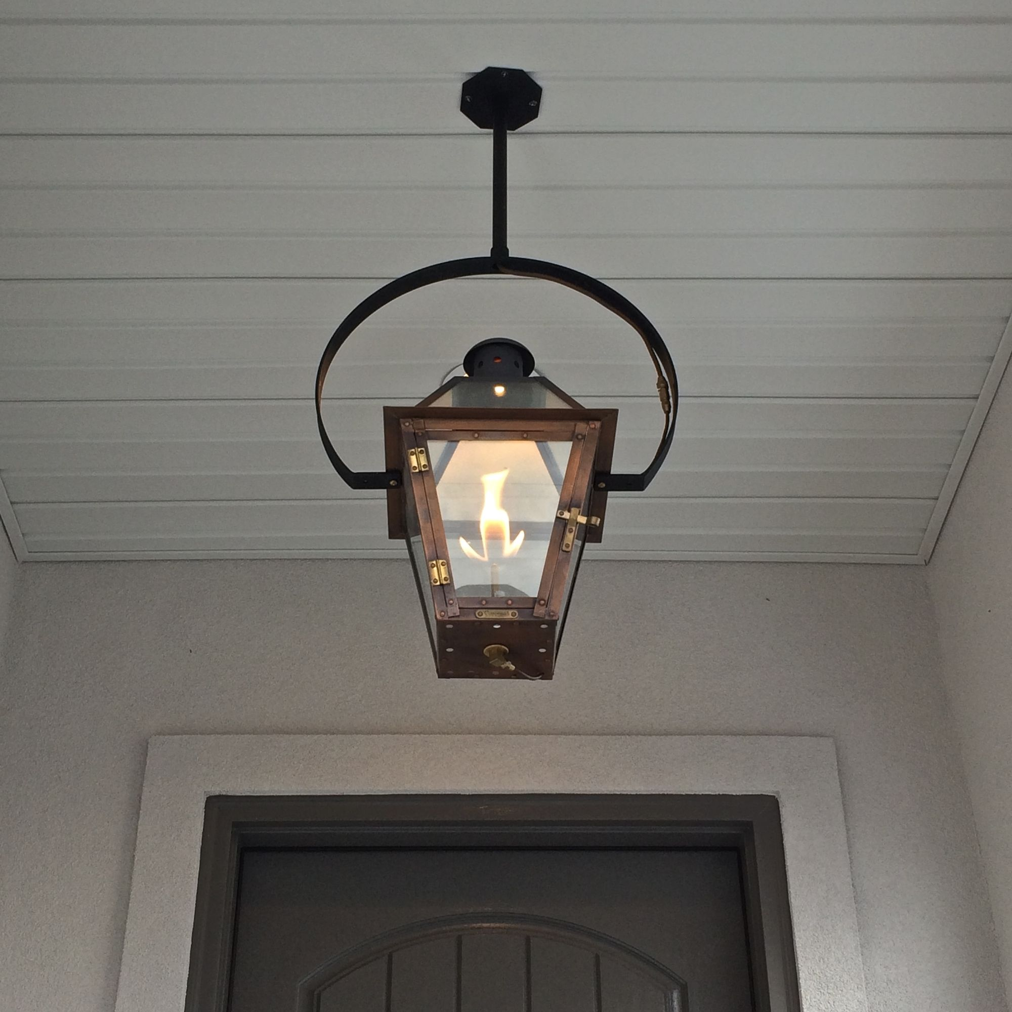 Exterior Entryway Large Hanging Gas Lantern Estess Contractors ...