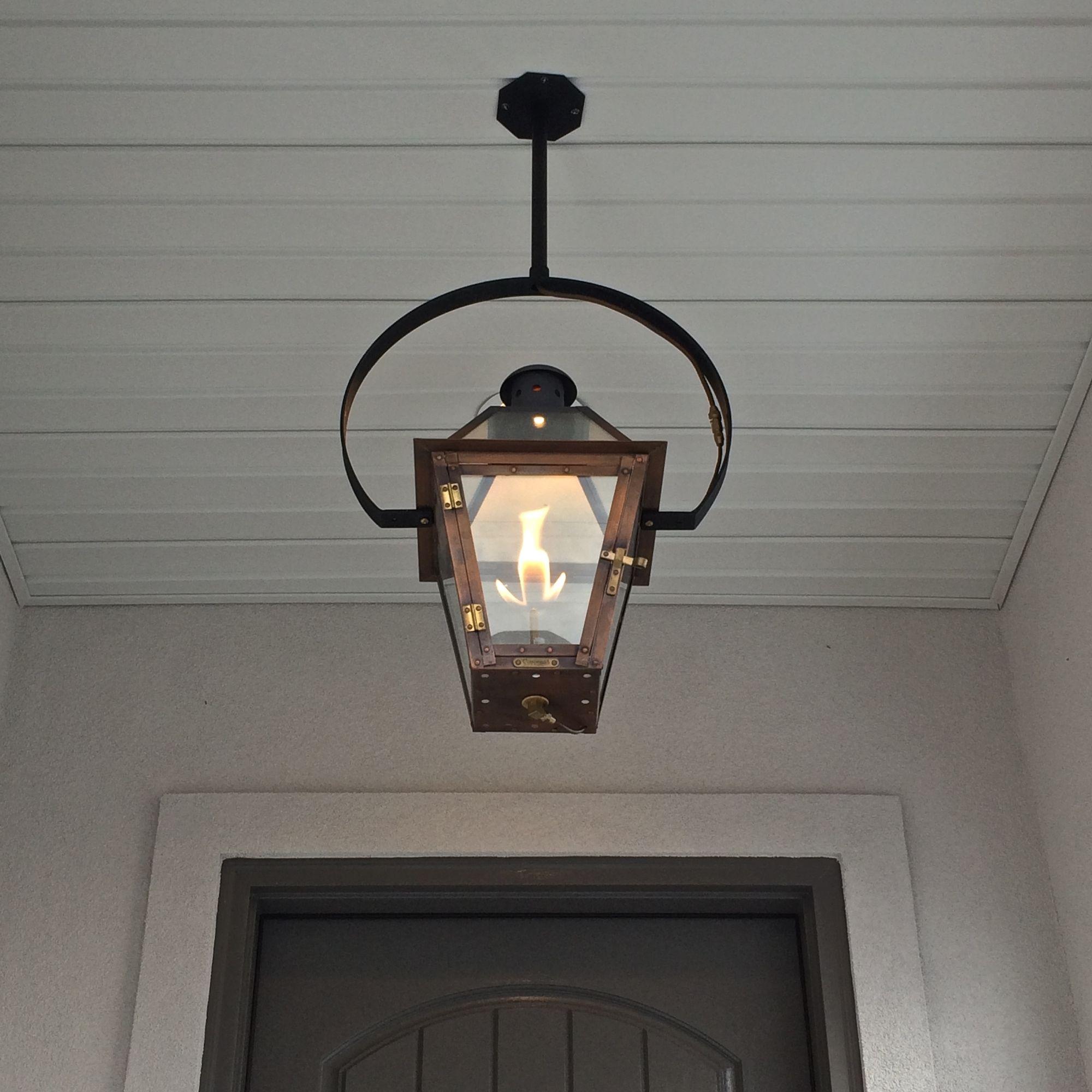 Exterior Entryway Large Hanging Gas Lantern Estess Contractors