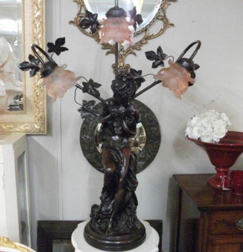 vintage art nouveau style spelter lamp
