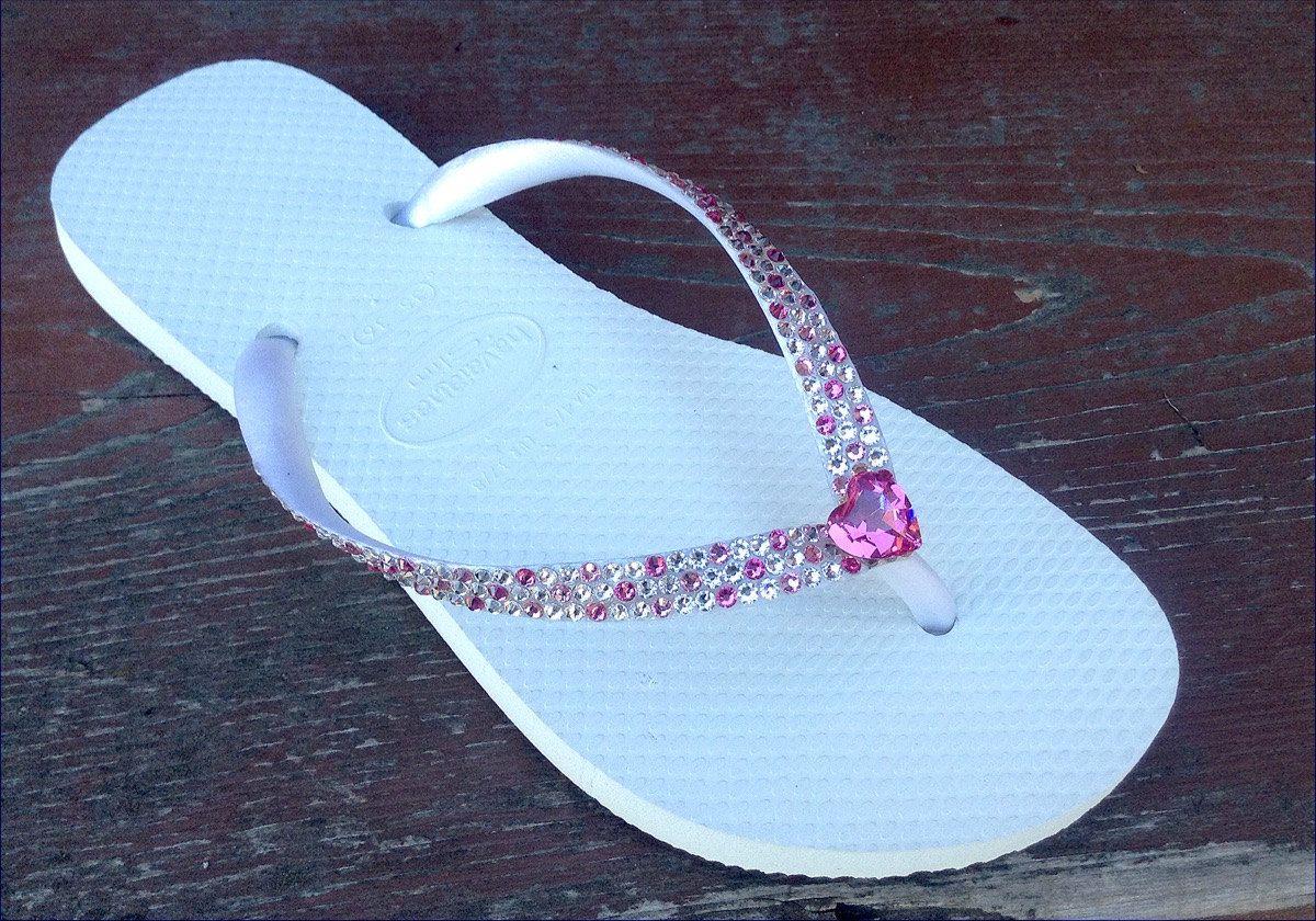 2a5d69a2a02ddf Swarovski Crystal Beach wedding Havaianas Slim Flip Flops Rhinestone Bling  sandals Bridal Wedding Confetti Shoes Rose Pink Heart by GlassSlippersCC on  Etsy