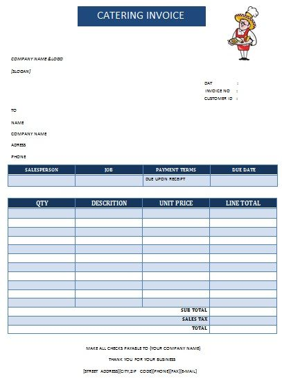Catering Invoice Template Excel Fascinating Catering Invoice 16  Lady Bakes  Pinterest  Catering