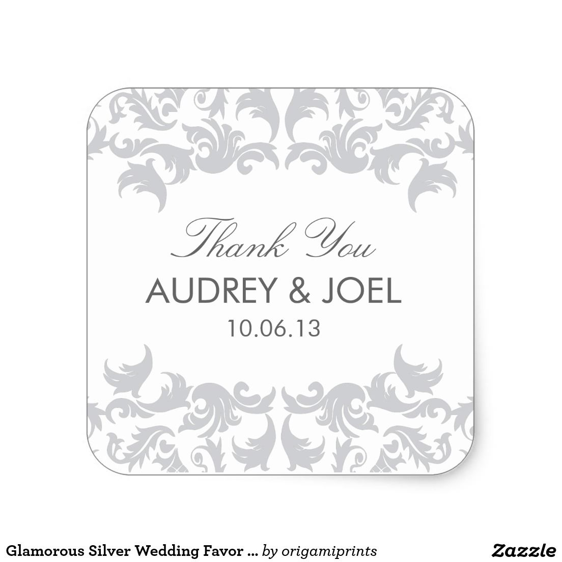 Glamorous Silver Wedding Favor Stickers | Silver wedding favors ...