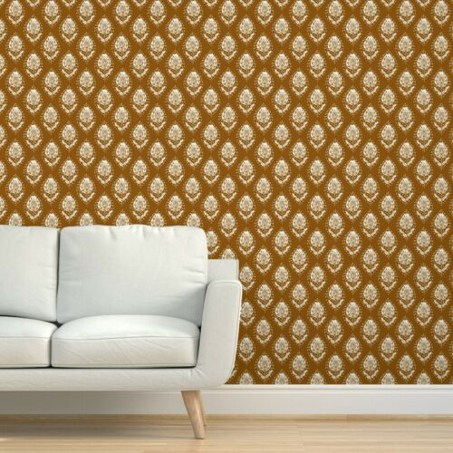 Peel And Stick Removable Wallpaper Ogee India Indian Block Blockprint Linocut Removable Wallpaper Block Print Quick Decor