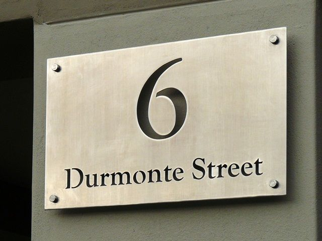 Stainless Steel Sign, Grade 316 with brushed finish and mounted ...