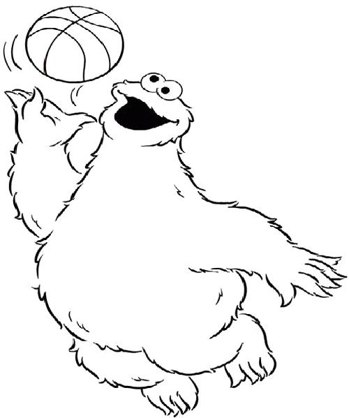 Cookie Monster Playing Basketball Coloring Page Monster Coloring