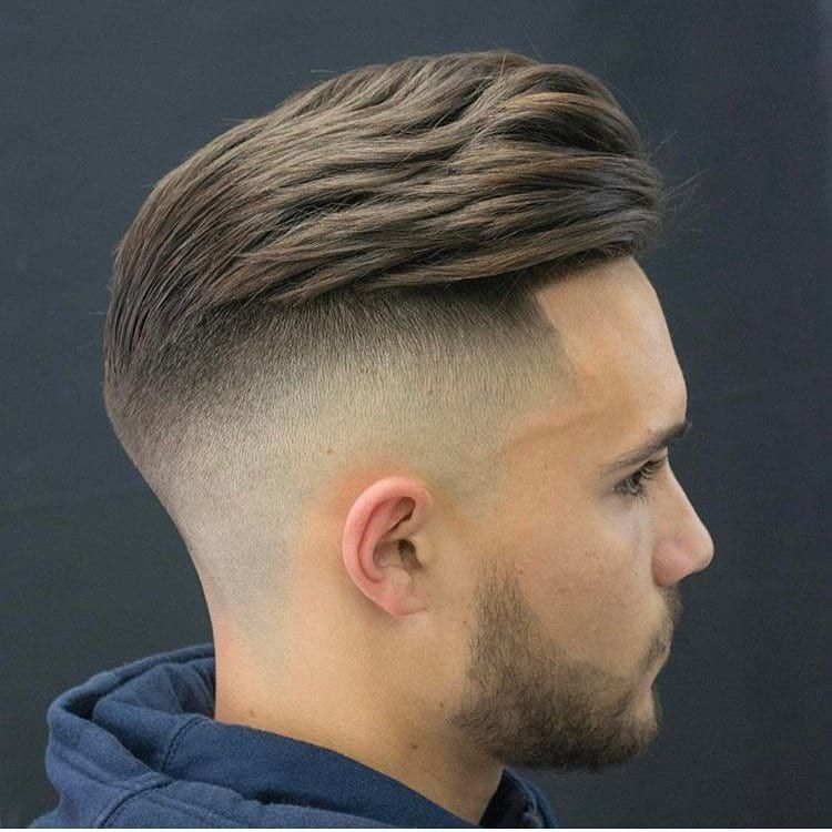Get This Hairstyle Slightly Wavy Undercut Pompadour With Fade