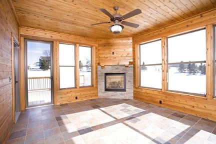 4 Season Sunroom With Fireplace