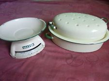 Vintage enamelled kitchenware Salter scales and roasting dish cream and green