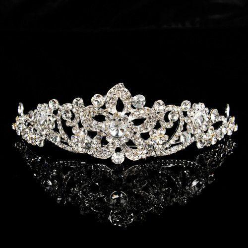 Vintage Wedding Tiara With Allover Rhinestone Simple
