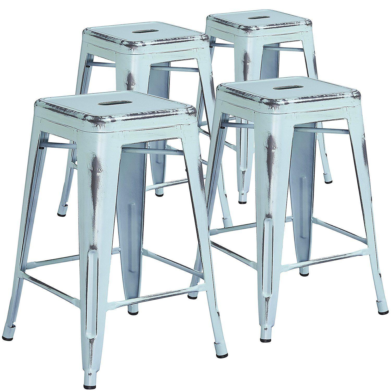 Amazon.com: Flash Furniture 4 Pk. 24\'\' High Backless Distressed ...