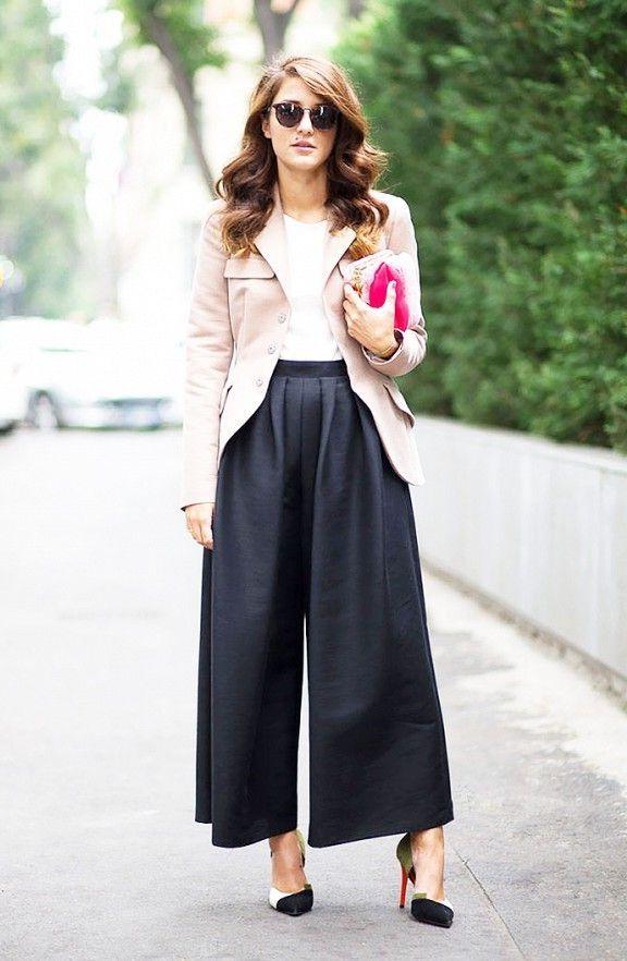 cb0ac586c55e 25 Ways To Wear Wide Leg Pants 2018 | FashionTasty.com Black Culottes,  Culottes