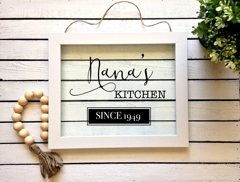 Nana\'s Kitchen Since Framed Glass Sign, Vinyl Glass Frame Sign ...