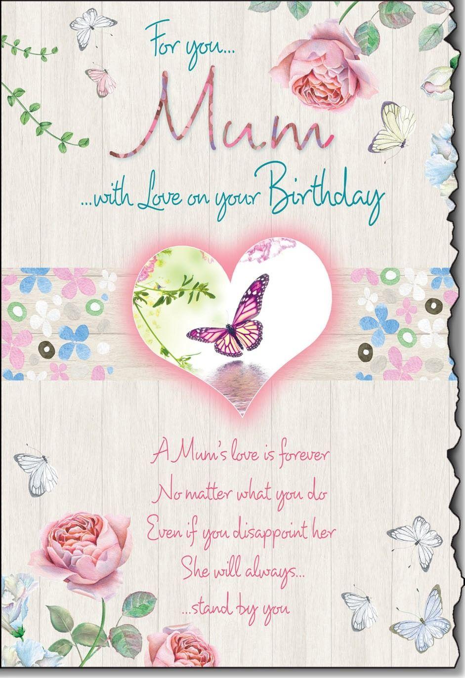 shabby chic mum birthday card with lovely sentiment greeting rh pinterest co uk