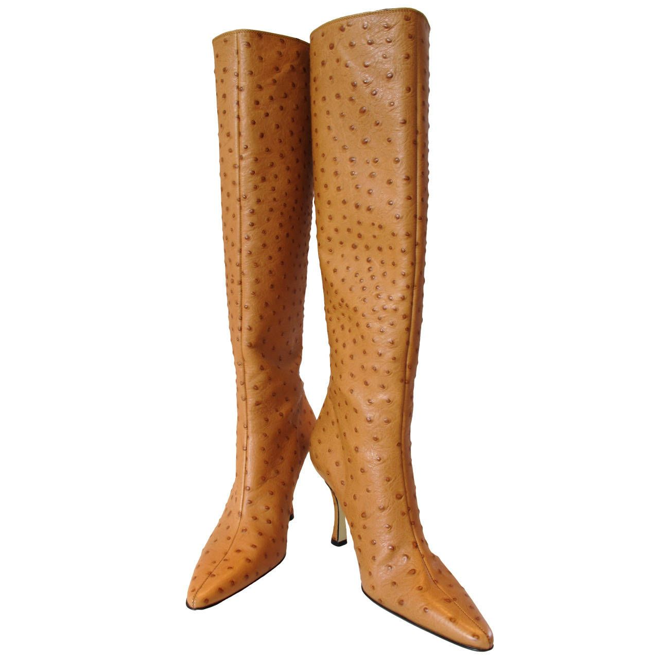 New Walter Steiger Camel-Ostrich Knee High Boots | From a collection of rare vintage shoes at https://www.1stdibs.com/fashion/accessories/shoes/