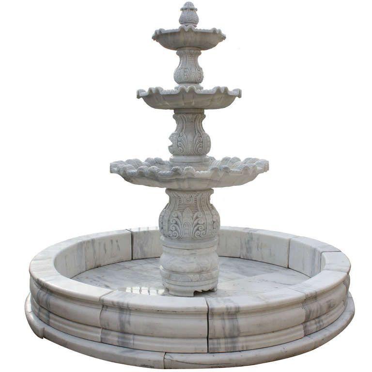 Italian Carrara Marble Three-Tier Fountain