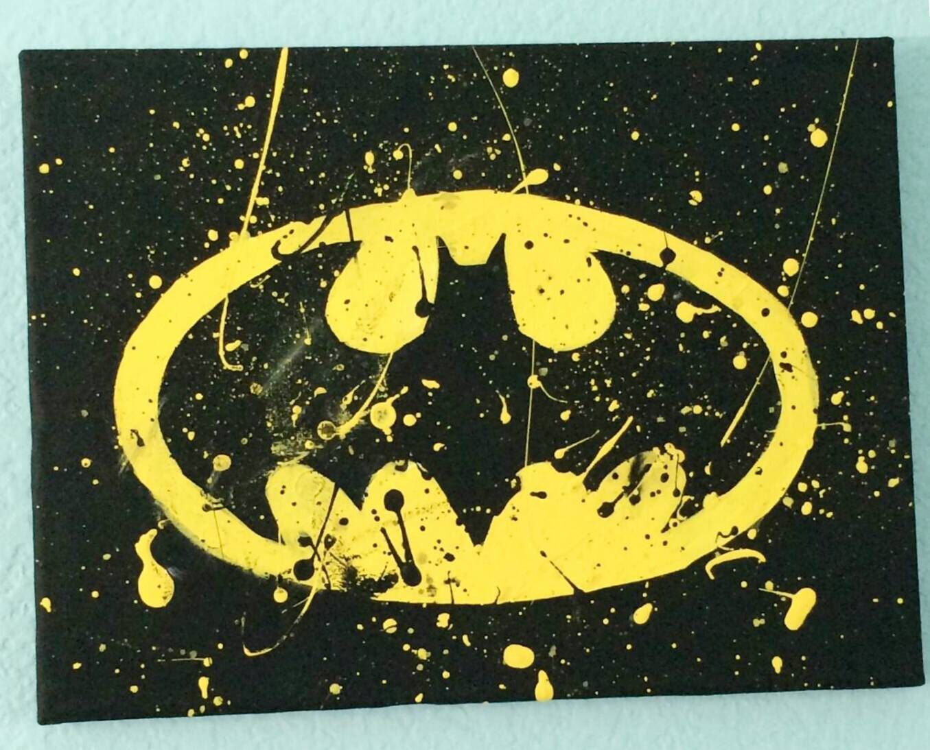 Batman canvas painting \\ yellow \\ black \\ batman \\ bat \\ paint ...