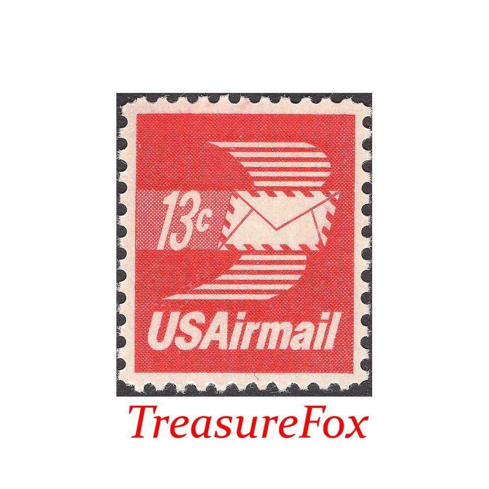 TEN 13c Letter with Wings Airmail Stamp .. Vintage Unused