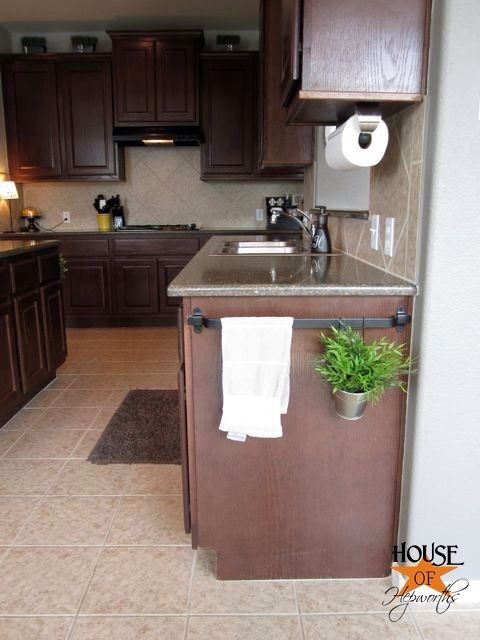 Use A Towel Rack On The End Of Your Cabinet To Hang Towels Hook Pots Or Herbs Kitchen Rails Home Home Decor