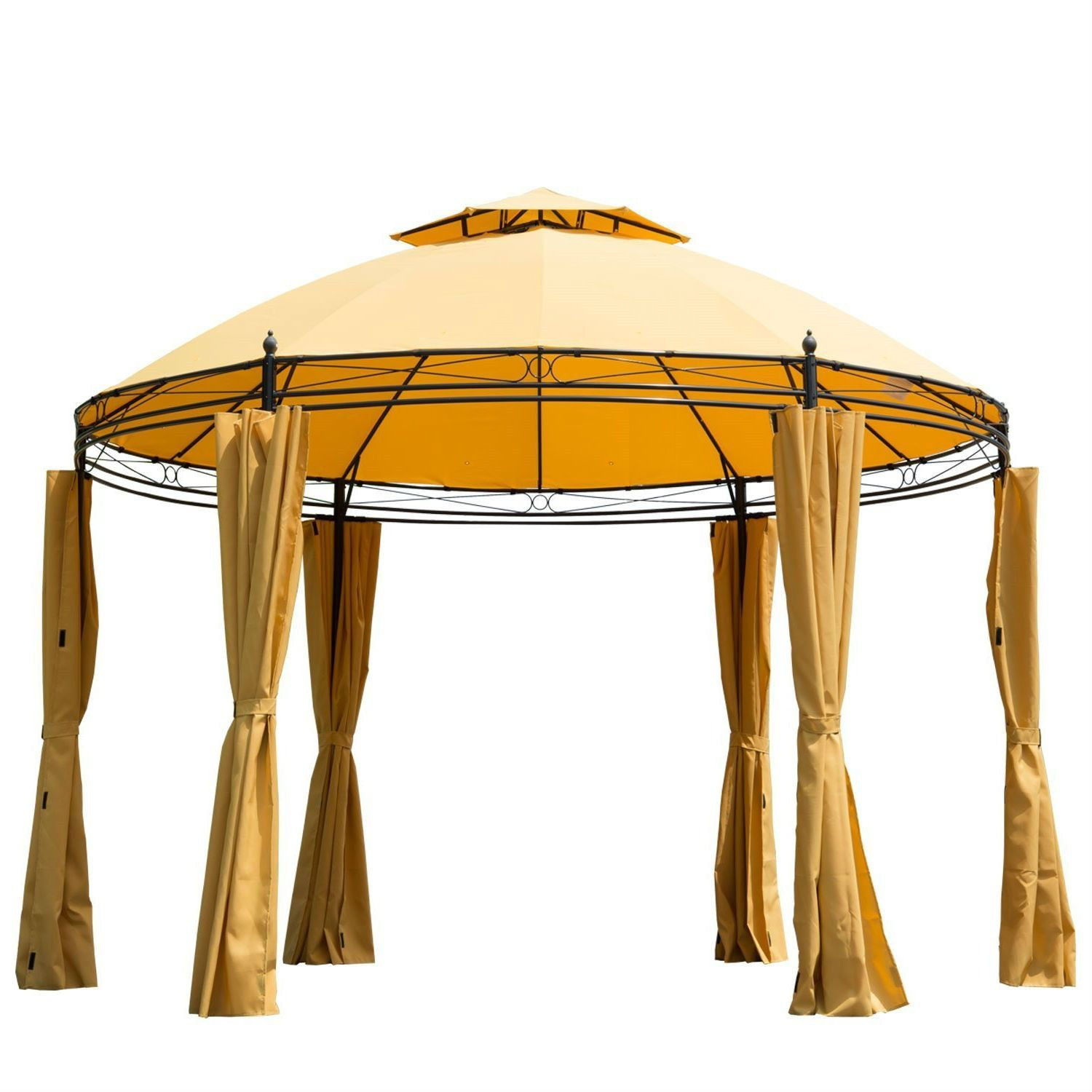 11ft Yellow Orange Steel Outdoor Patio Gazebo Canopy with