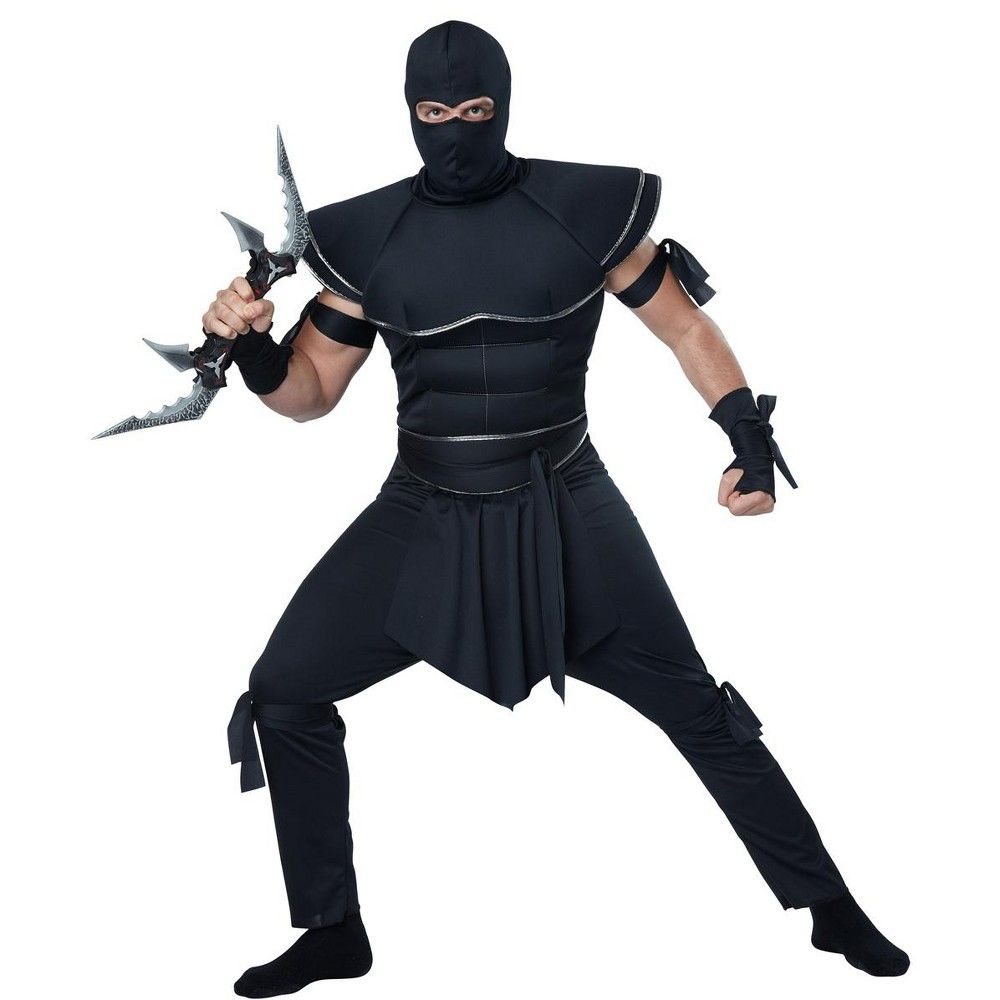 Mens Ninja Costume Black Samurai Warrior Hooded Outfit Japanese Fighter Adult XL