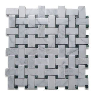 "Stone Center Corp - Carrara Marble Basketweave Mosaic Tile Green Dots 1x2 Polished - Carrara white marble 1"" x 2"" rectangle pieces and Ming Green 3/8"" dots mounted on 12"" x 12"" sturdy mesh tile sheet"