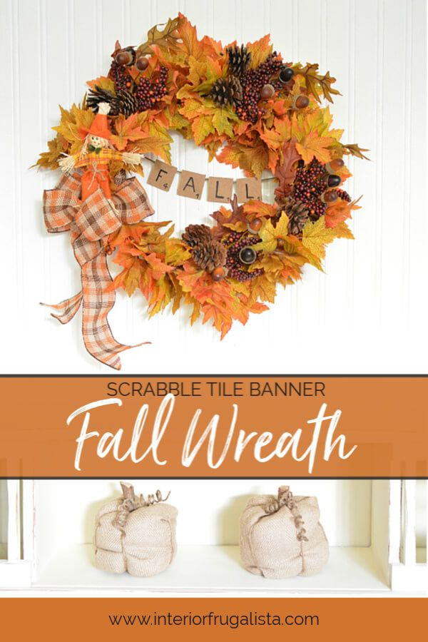 Photo of Easy Peasy DIY Fall Wreath With Scrabble Tile Banner
