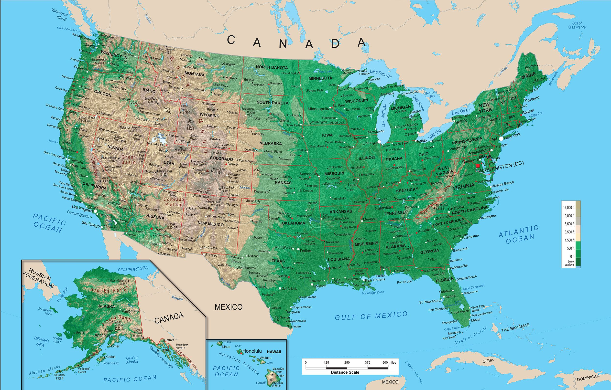 Highest Mountain And Peaks In Each Of The US States Profiles The - Us map interactive free