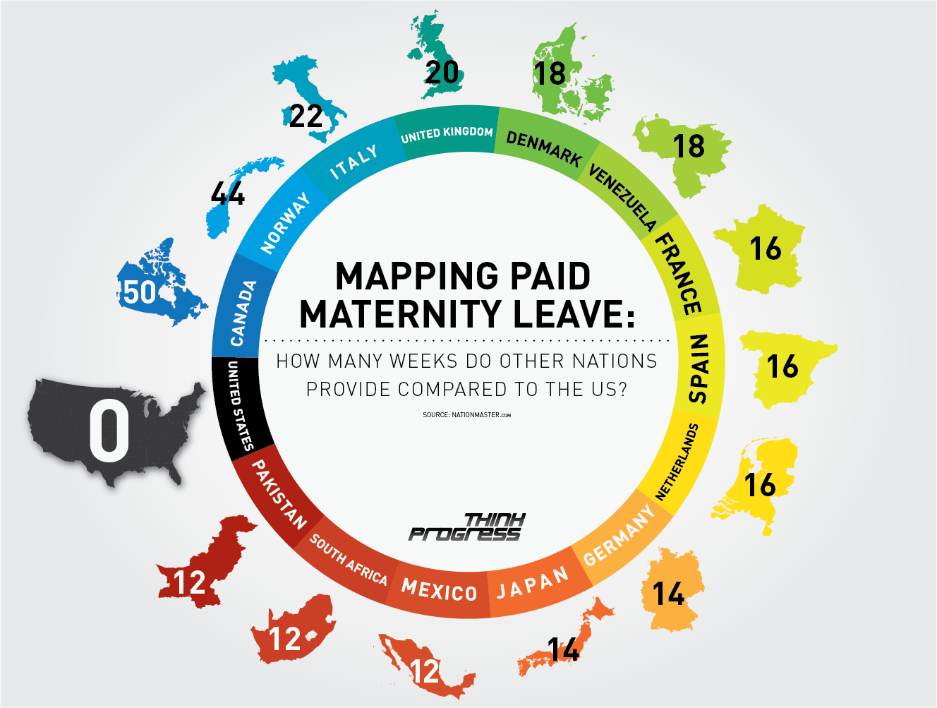Maternity leave around the world. My job made me use all accrued vacation and sick days to take off with pay!