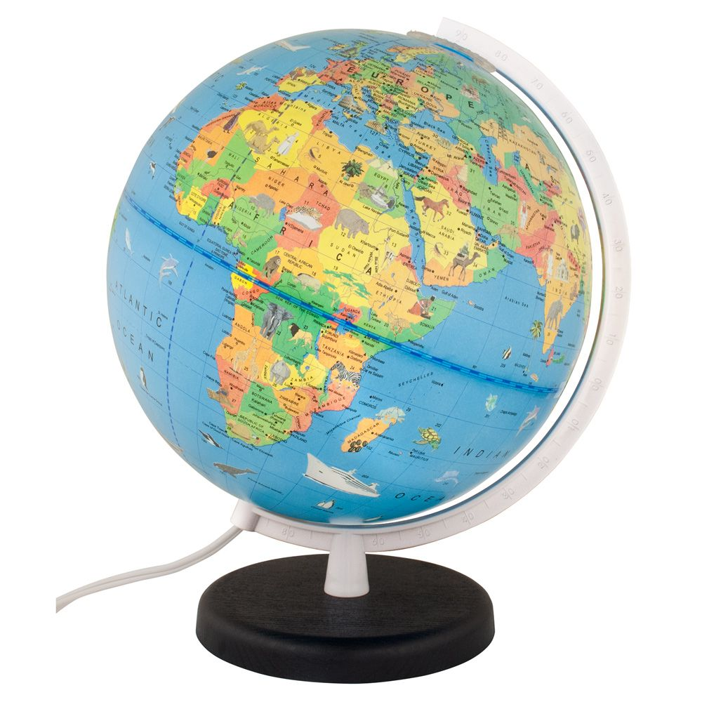 Columbus Voyage Light Up Globe For Kids With Animals 10 Inch Kids Globe Columbus Voyage Globe