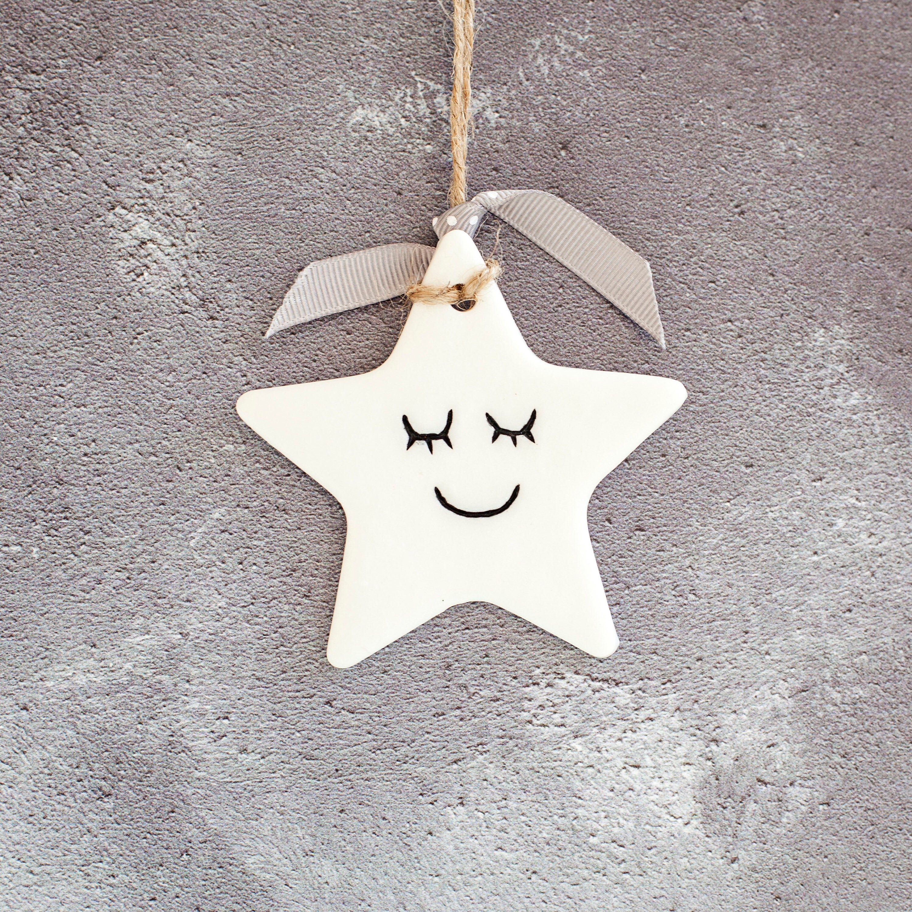 Handmade White Hanging Star Decoration Nursery Decor Ornament Etsy Clay Christmas Decorations Handmade Christmas Gifts From Children Handmade Christmas Gifts