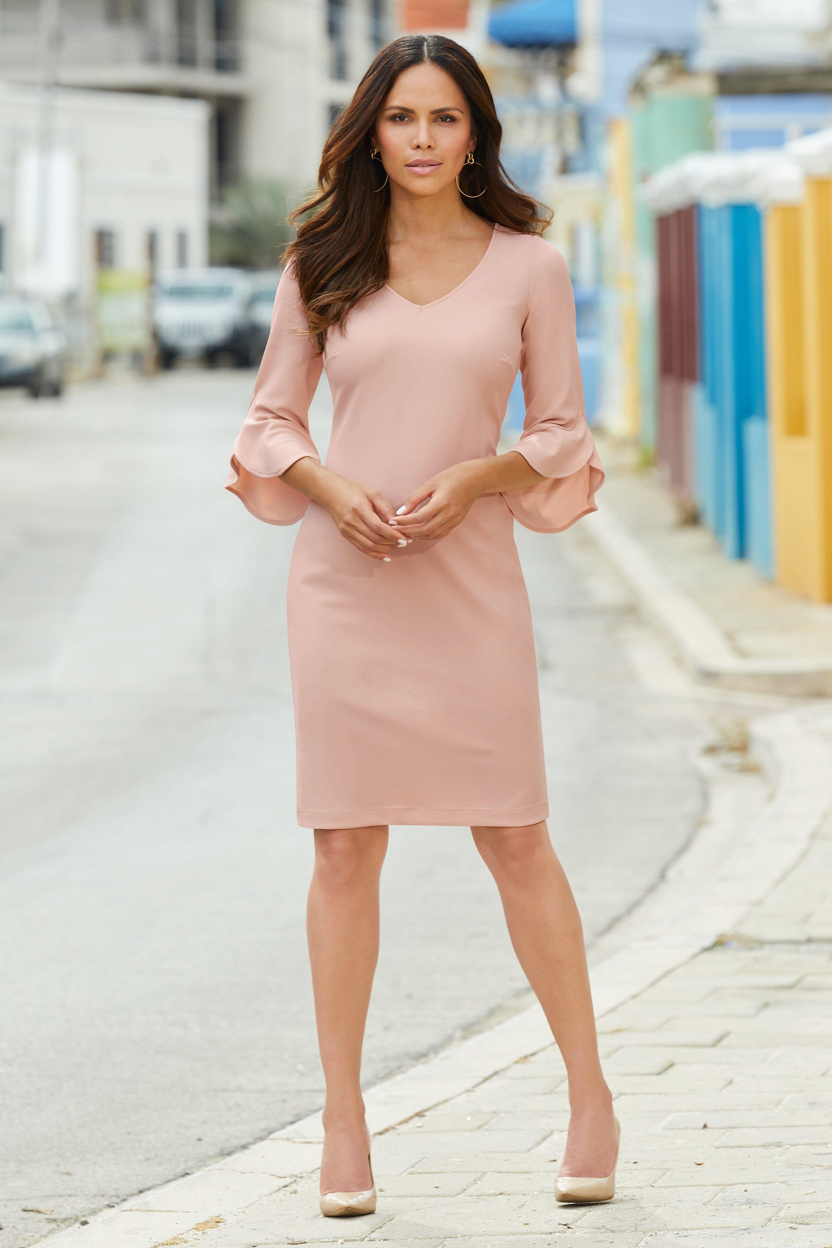 Beyond Travel V Neck Flare Sleeve Sheath Dress Summer Dresses For Women Dresses Sheath Dress [ 4150 x 2768 Pixel ]