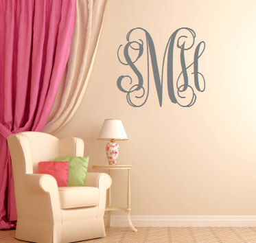 EXTRA Large Vinyl Monogram Custom Wall Decal By GeorgiaRestoration - How to make vinyl monogram decals with cricut