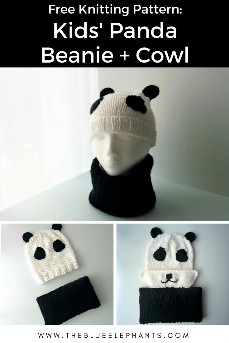 Kids\' Panda Beanie + Cowl (Free Knitting Pattern) | Pinterest ...