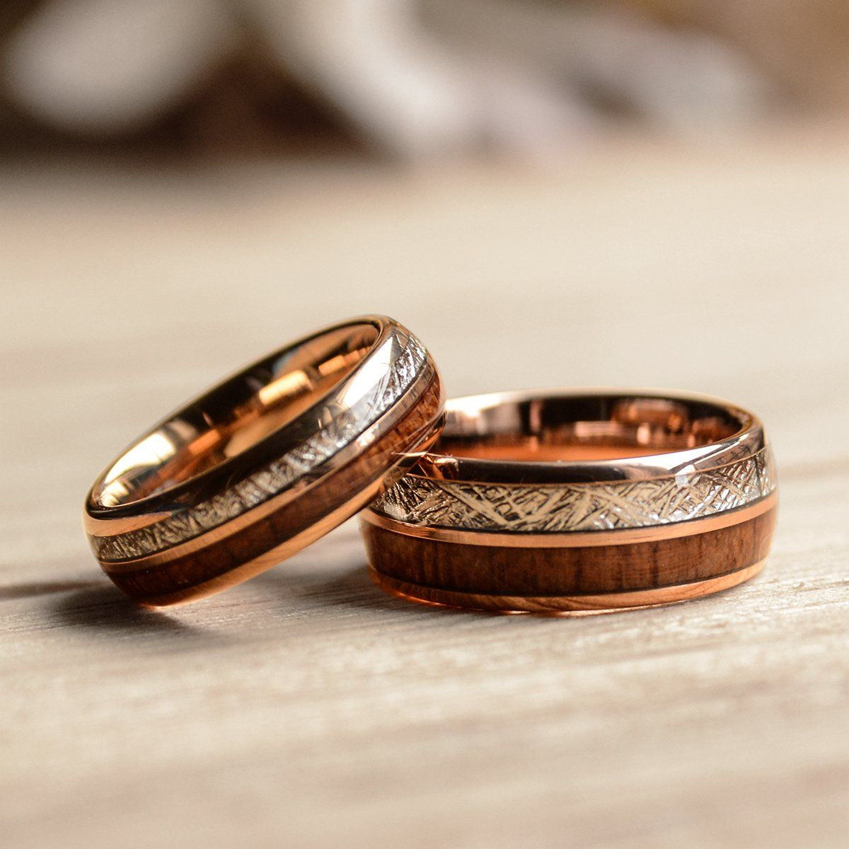 Match His And Hers Rose Gold Tungsten Rings With Meteorite And Wood Inlay Wood Wedding Bands Gold Tungsten Ring Rose Gold Tungsten Wood Wedding Band