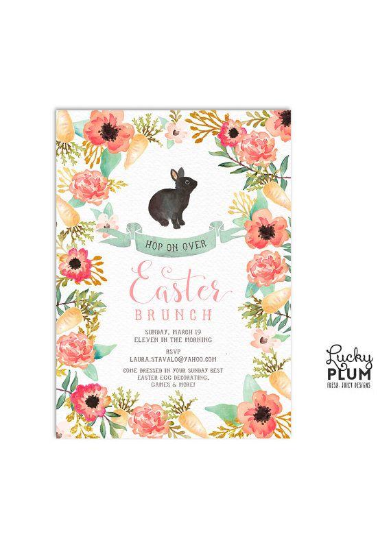 easter invitation easter brunch invite flower invite bunny