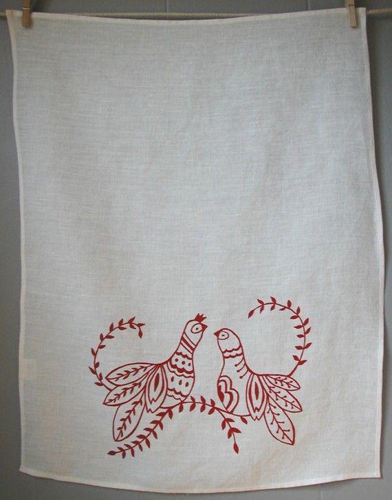 Linen Tea Towel - Scandinavian Folk Birds - Hand Screen Printed Dish Towel…