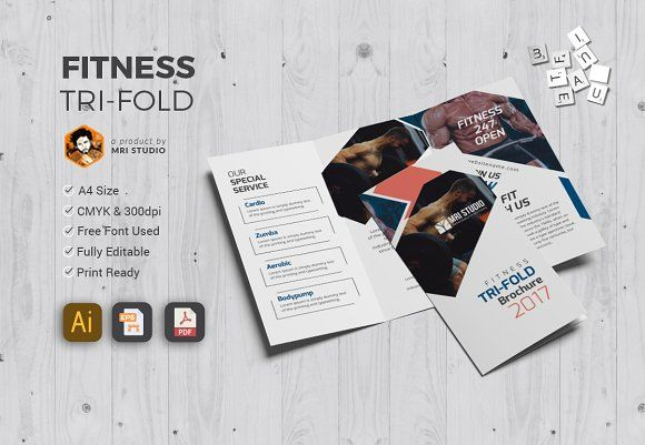 Simple Fitness Tri-Fold Brochure template, Brochures and Template