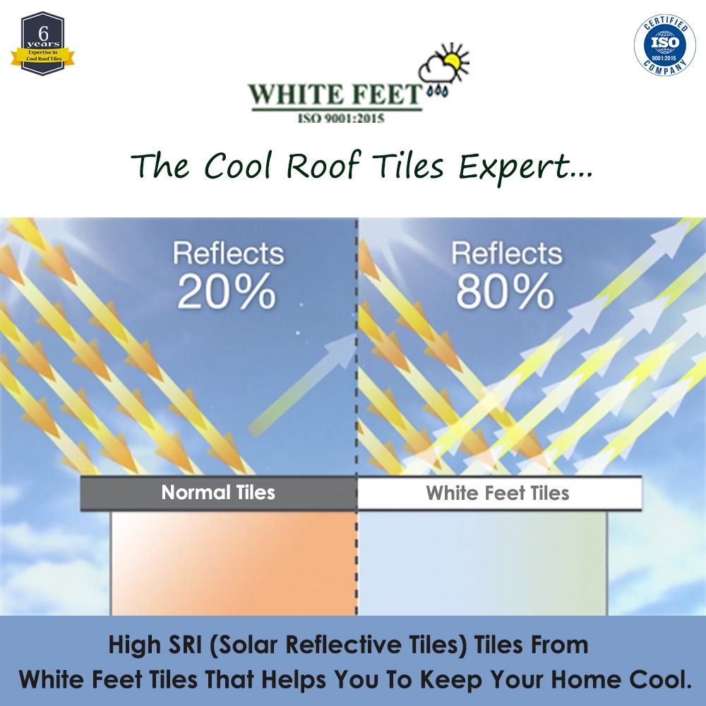 White Feet Cool Roof Tiles In 2020 Cool Roof Roof Tiles Tiles