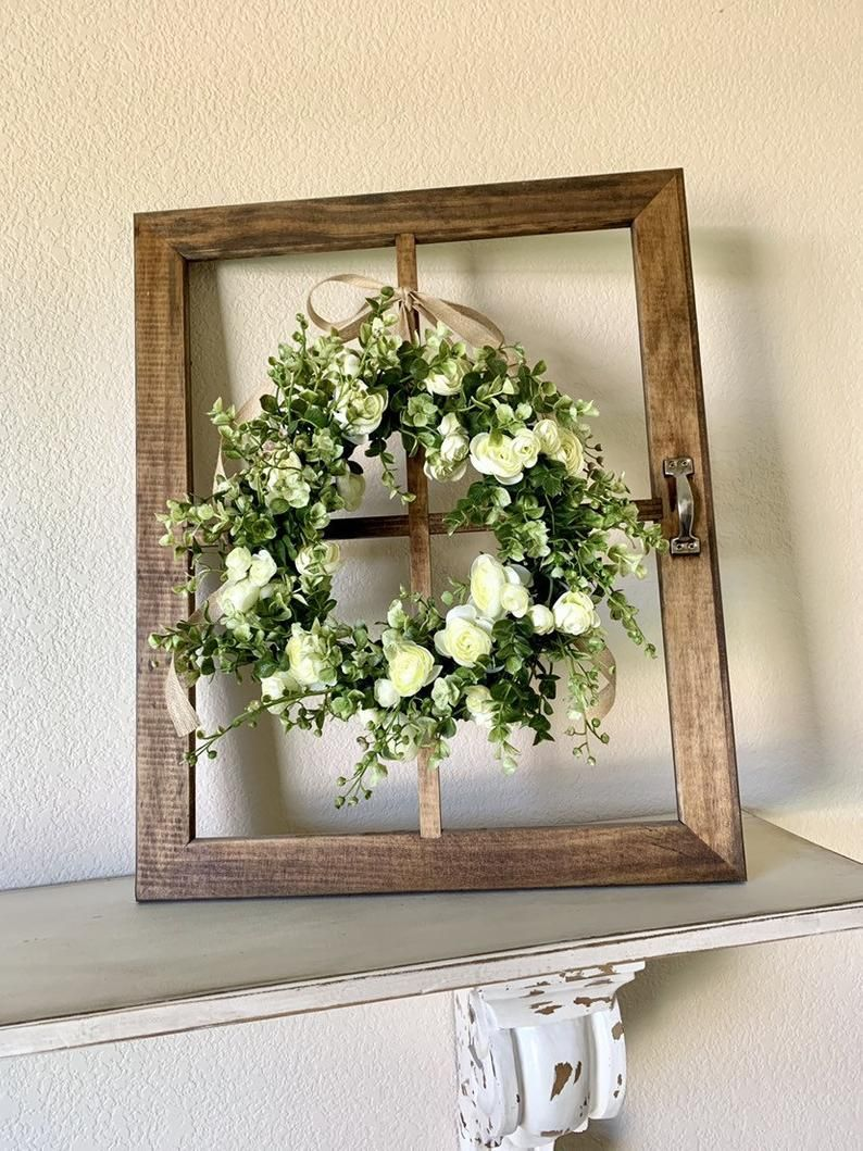 Window Frame Wall Decor Window Frame With Wreath Farmhouse Etsy In 2020 Rustic Window Frame Old Window Decor Wreath Wall Decor