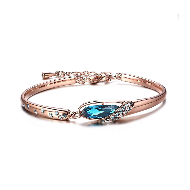 Forcolor blue swarovski elements crystal bangle bracelet rose gold