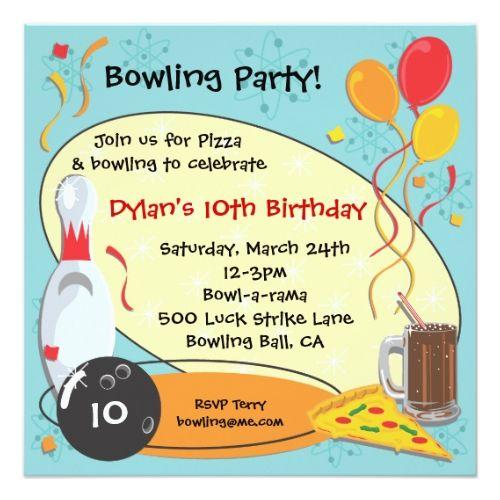 retro bowling birthday party invitation card bowling birthday