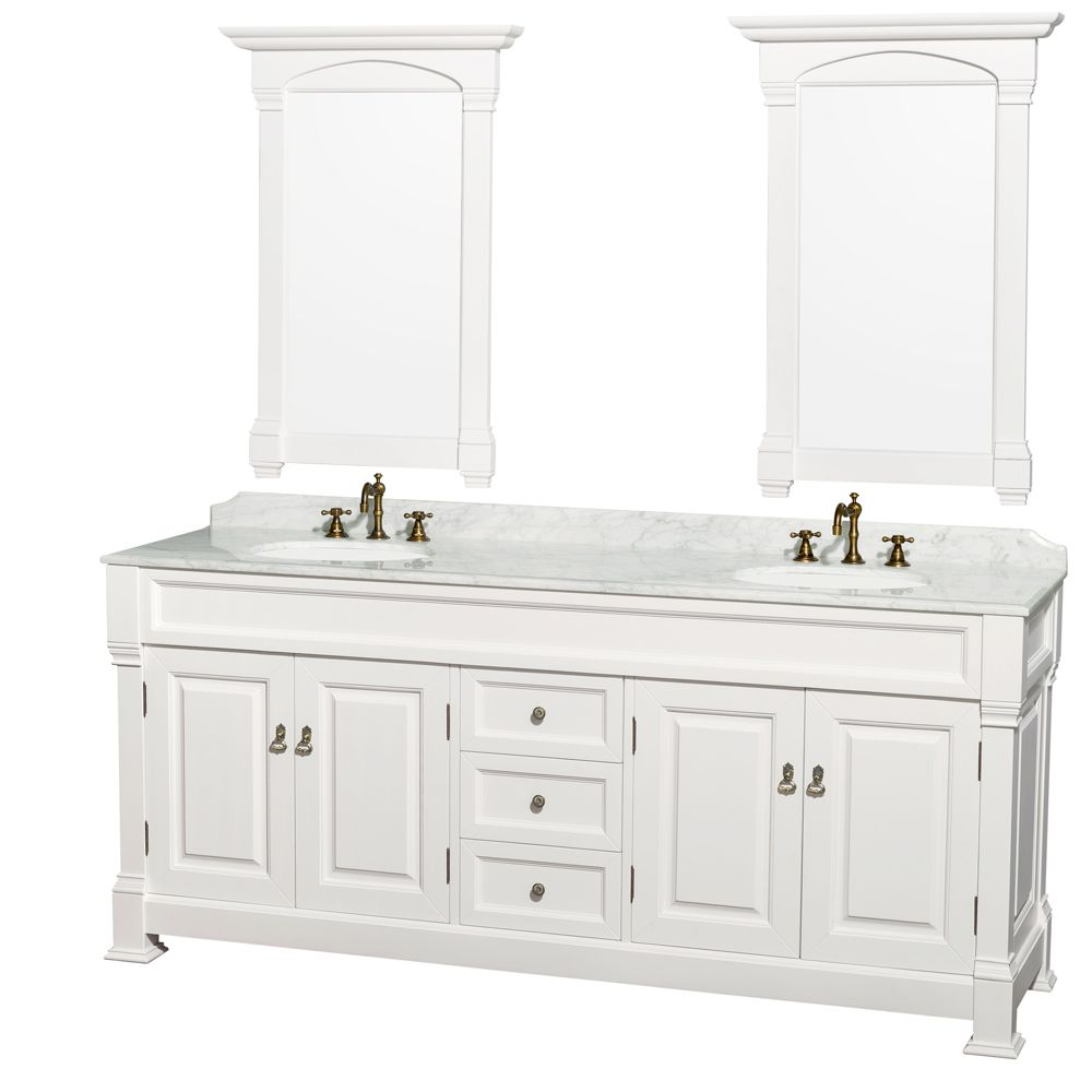 Picture Gallery For Website Andover inch Traditional Bathroom Double Vanity Set White Finish