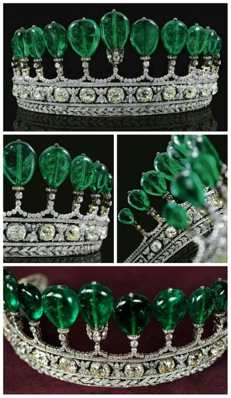 emerald and diamond tiara formerly in the collection of princess