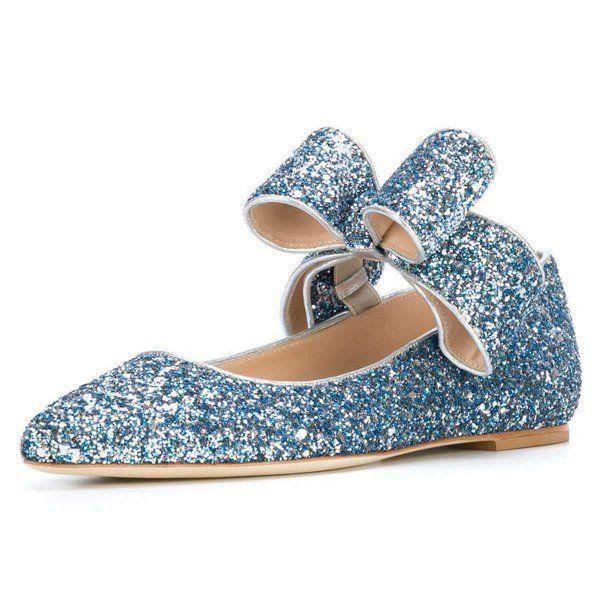 Blue Glitter Bow Pointy Toe Comfortable Flats -  Blue Glitter Bow Pointy Toe Comfortable Flats for Work, Formal event, School, Date, Going out, Honeymoon   FSJ  #highheels #heels #platgorm #toptags #fashion #style #stylish #love #cute #photooftheday #tall #beauty #beautiful #instafashion #girl #girls #model #shoes #styles #outfit #instaheels #fashionshoes #shoelover #instashoes #highheelshoes #trendy #heelsaddict #loveheels #iloveheels #shoestagram  - #blue #Bow #comfortable #Flats #Glitter #lo