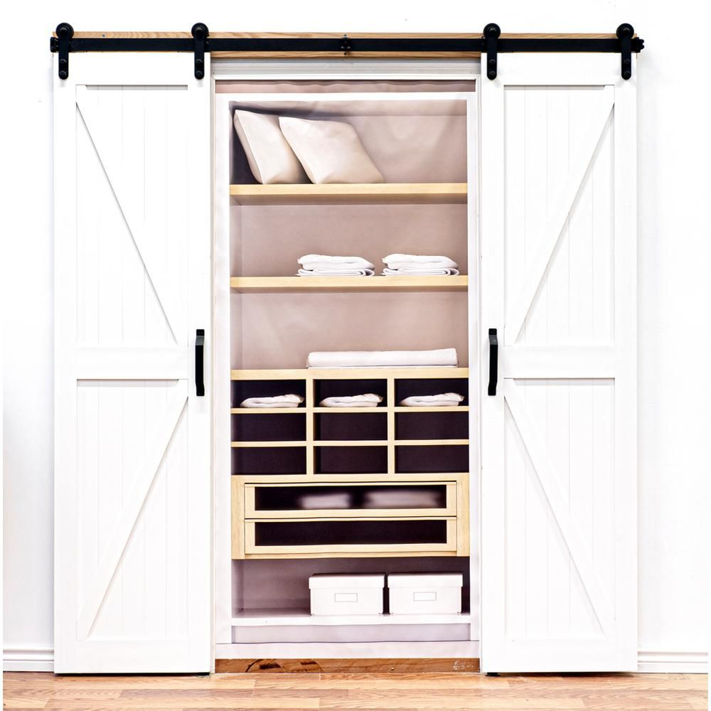 Home Fashion Technologies 36 In X 84 In Board And Batten Composite Pvc White Split Sliding Barn Door With Hardware Kit 8503684100 The Home Depot In 2020 House Styles Barn Door Barn Door Designs