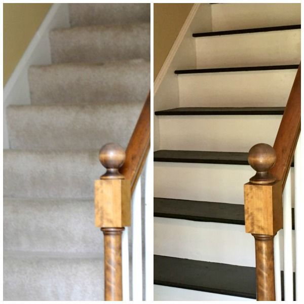 Wooden Stairs With Painted Stripes Updating Interior: How To Remove Carpet From Stairs And Paint Them
