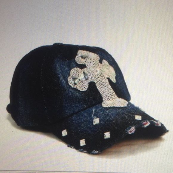 Bling baseball cap Washed denim w-synthetic crystal...