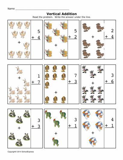 Math Worksheets, Addition Worksheets, Sums 1-10, Vertical | Free ...